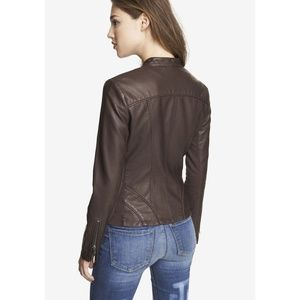 Express Minus Leather Moto Angled Jacket Brown XS